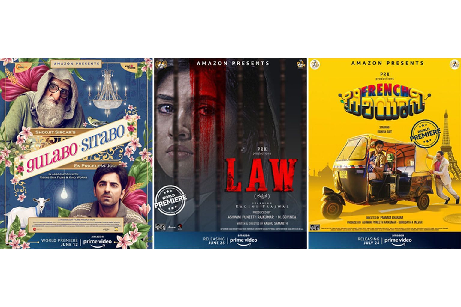 From left: Bollywood film Gulabo Sitabo, featuring actors Amitabh Bachchan and Ayushmann Khurrana; Law; and French Biryani are among the films slated to be released online.