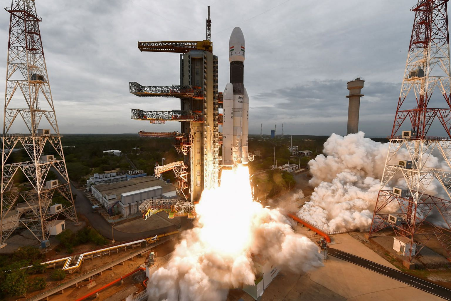 This handout photo taken by the Indian Space Research Organisation (Isro) on July 22 last year shows the Chandrayaan-2 (Moon Chariot 2) being launched from the Satish Dhawan Space Centre in Sriharikota, an island off southern Andhra Pradesh state.