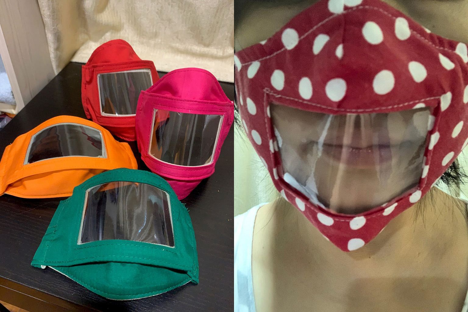 (Above) One of the prototypes for the specially designed masks that Ms Chan Siang Choo and Ms Rebecca Teo made for teachers of deaf students. They started to use solid colours (left) for the masks rather than patterned materials after feedback that t