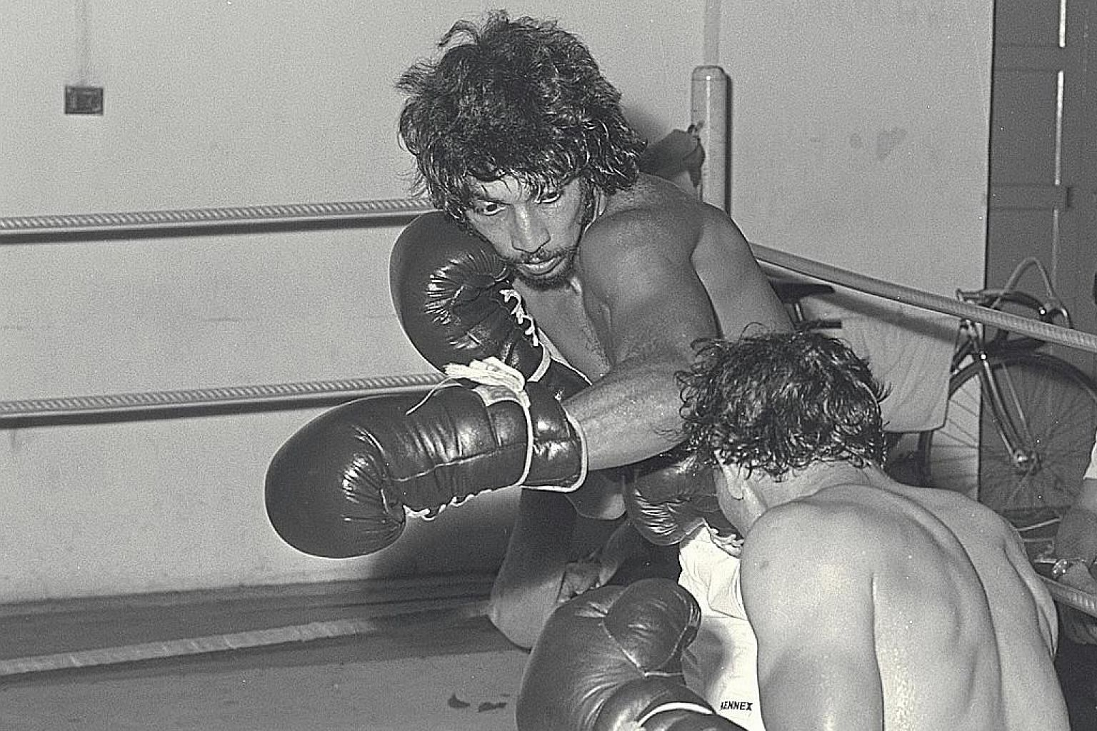 Cyril Jeeris, silver medallist at the 1975 Asian championships, sparring at Farrer Park Gymnasium in 1980. ST FILE PHOTO