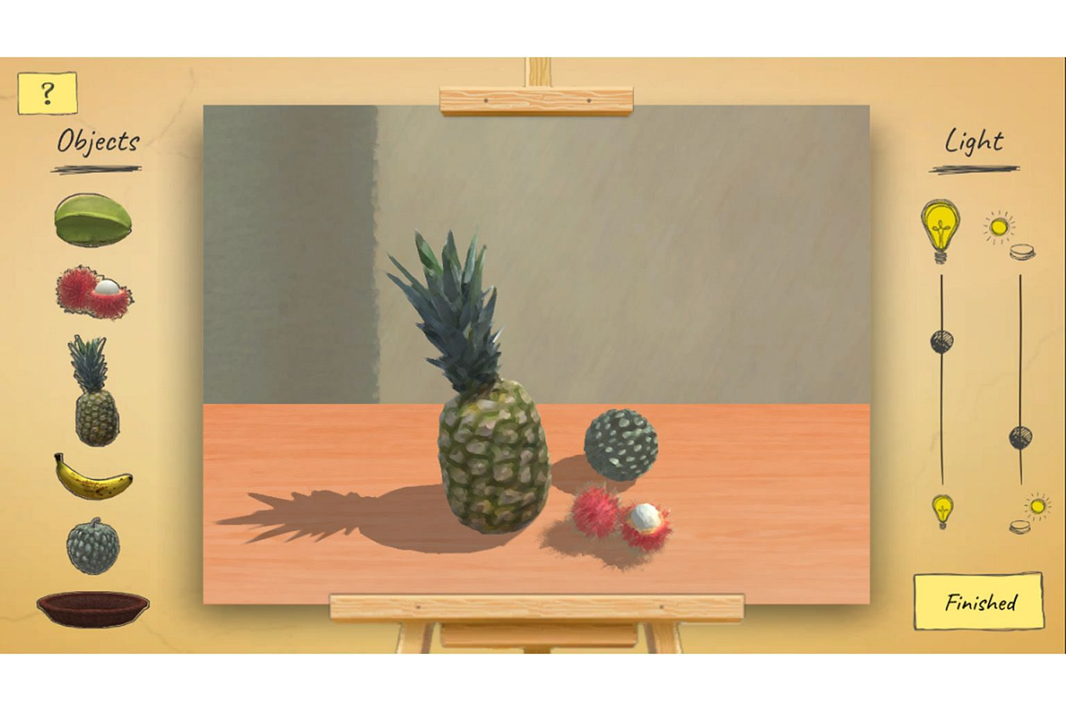 A game (left) based on the art of Singaporean artist Georgette Chen - who is behind the 1969 work Tropical Fruits - lets children create an image by arranging pieces of fruit in a bowl. It is one of the activities lined up in the online children's fe