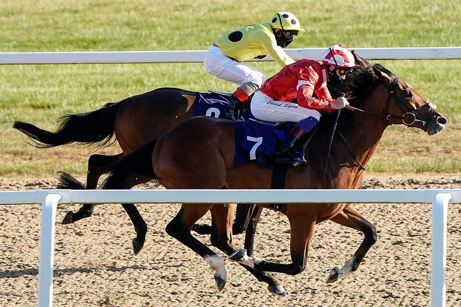 David Egan riding Valyrian Steel to win the Betway Maiden Stakes (Div II) at Newcastle Racecourse on Monday, as English racing resumed without fans present. Other health and safety precautions undertaken included the wearing of masks by jockeys and s