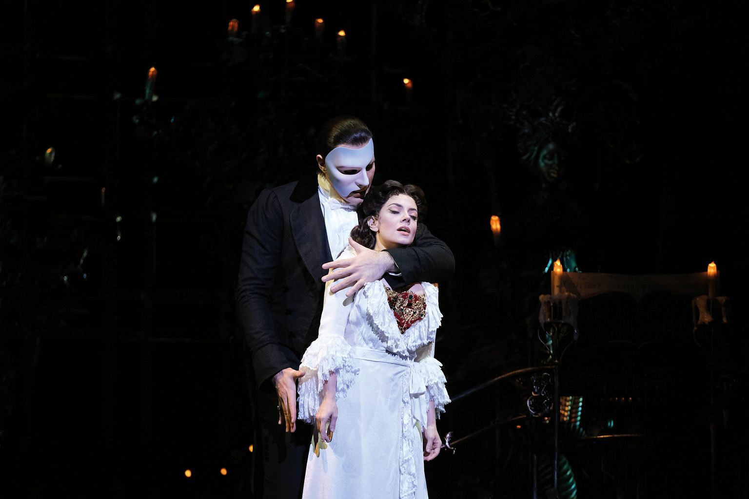 Jonathan Roxmouth as The Phantom and Meghan Picerno as Christine Daae in Andrew Lloyd Webber's The Phantom Of The Opera.