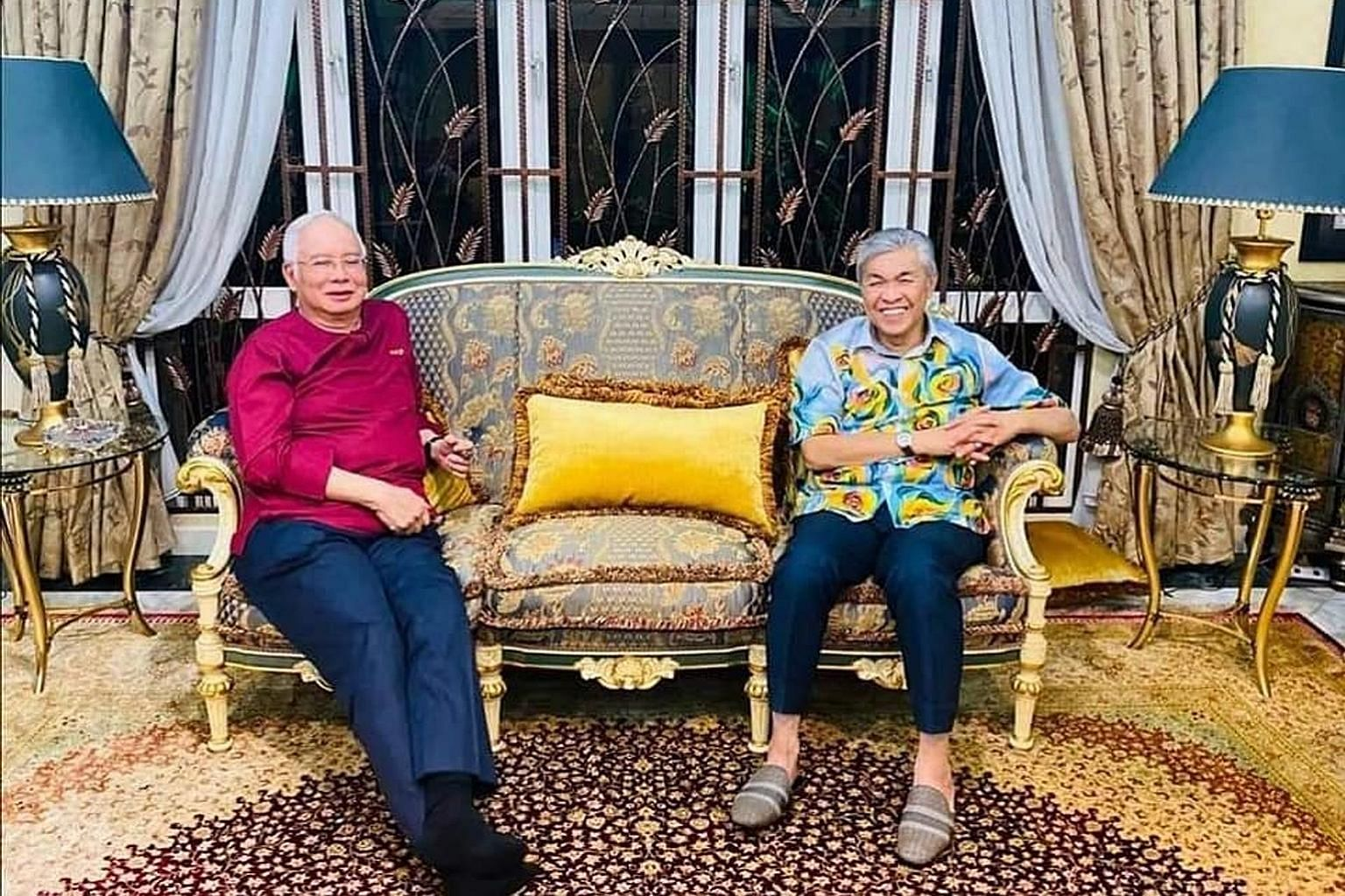 Umno president Zahid Hamidi (right) and his predecessor Najib Razak in a photo posted by Zahid on social media on Tuesday. Zahid's post comes after weeks of rapprochement with Najib.