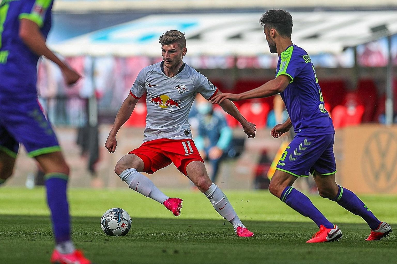 Leipzig striker Timo Werner taking on Freiburg in a Bundesliga game last month. He is set for a move to England next season, with reports revealing the Germany international has agreed terms with Premier League side Chelsea.