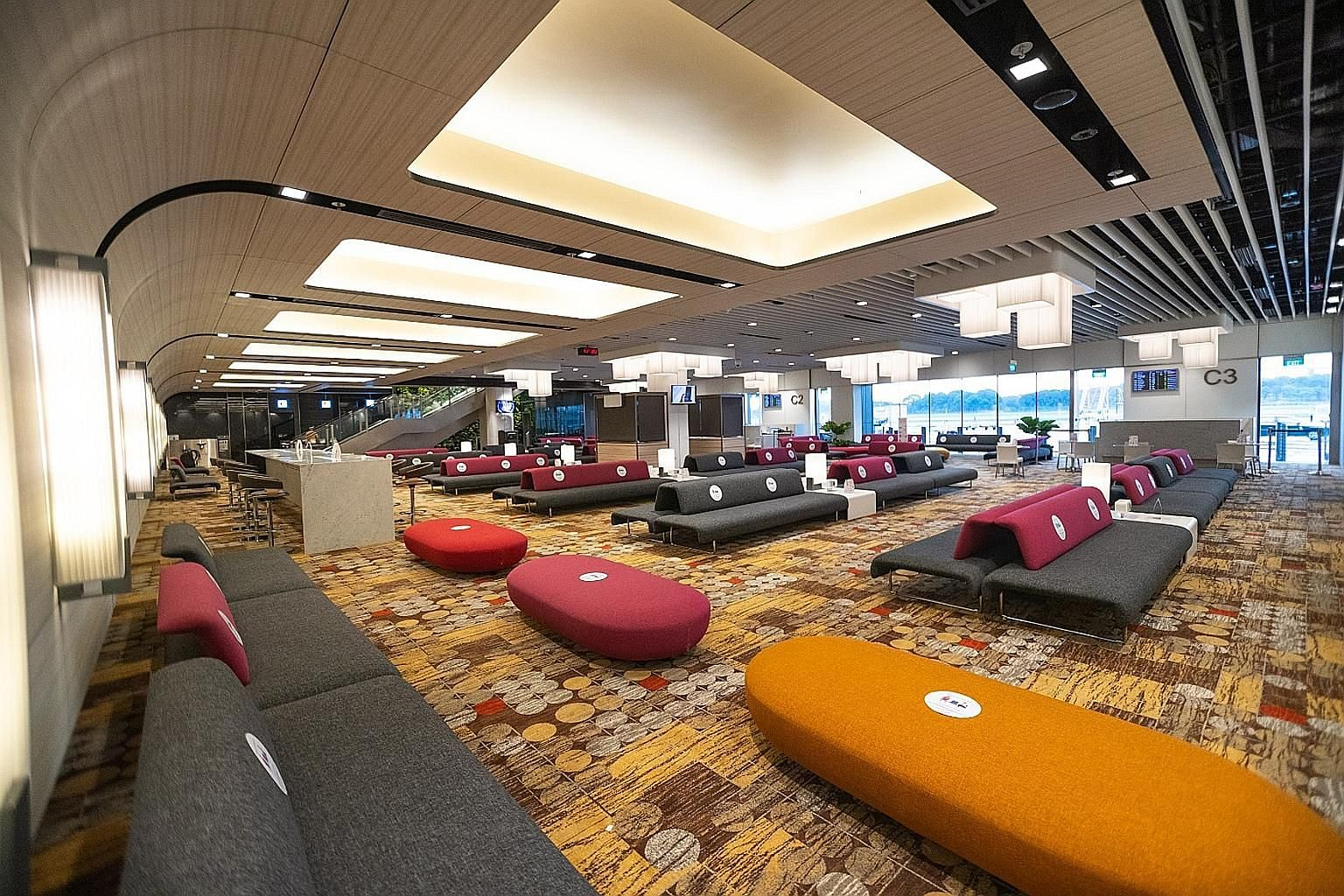 The new transit holding area in Terminal 1. Safety measures include regular deep cleaning and disinfection, said CAG. PHOTO: CHANGI AIRPORT GROUP