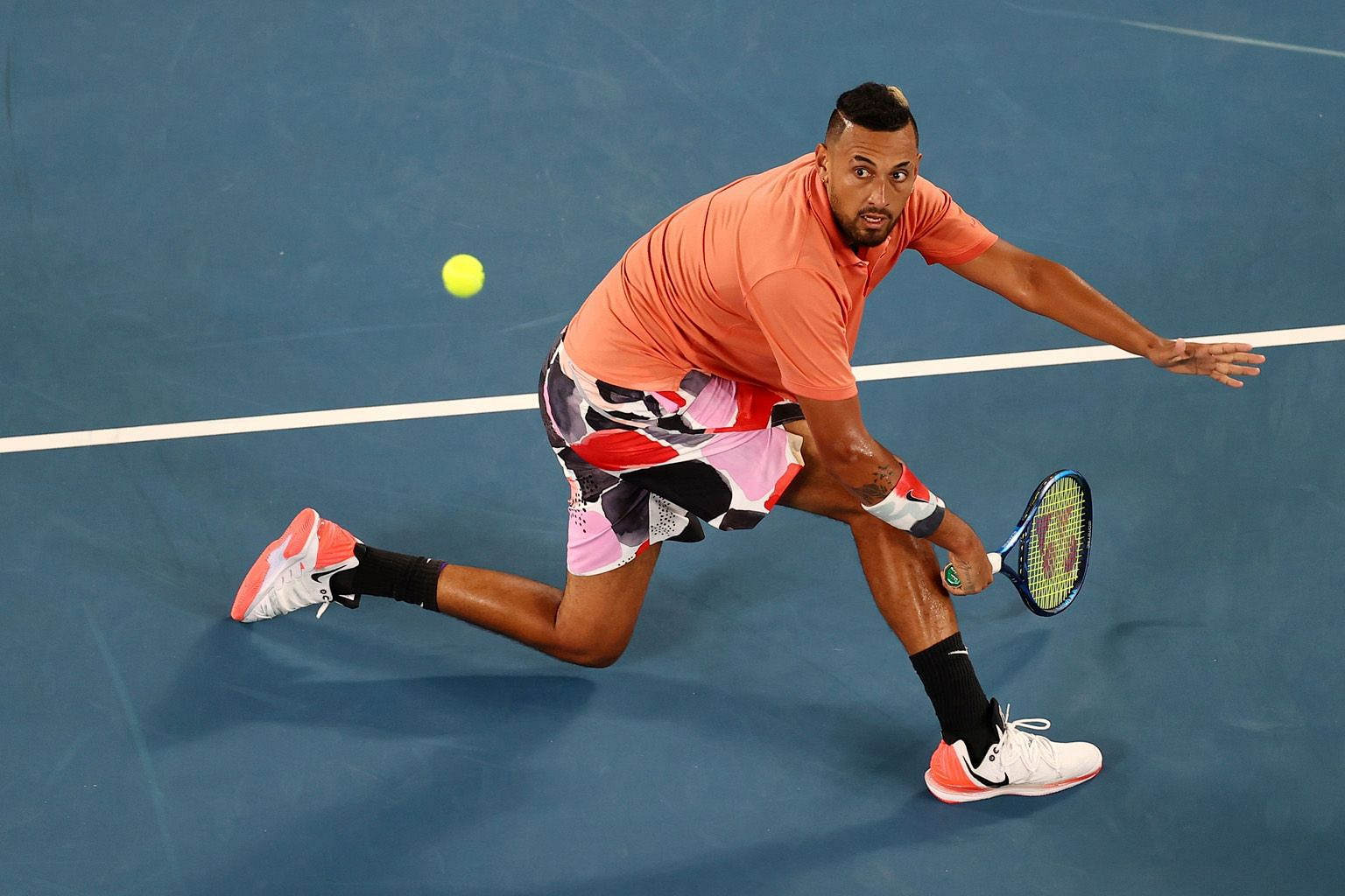 Combative player Nick Kyrgios at the Australian Open in January. He is adamant that tennis in the US should not restart until the country resolves its coronavirus and social unrest issues.
