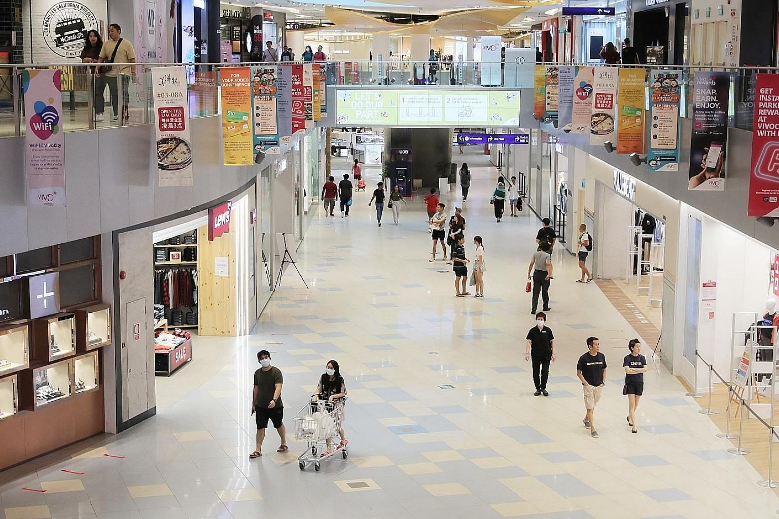 Shoppers at VivoCity a few days before the circuit breaker took effect in April. Singapore's first standard on e-commerce transactions will serve as a practical reference for e-retailers and e-marketplaces. It will also support Enterprise Singapore's