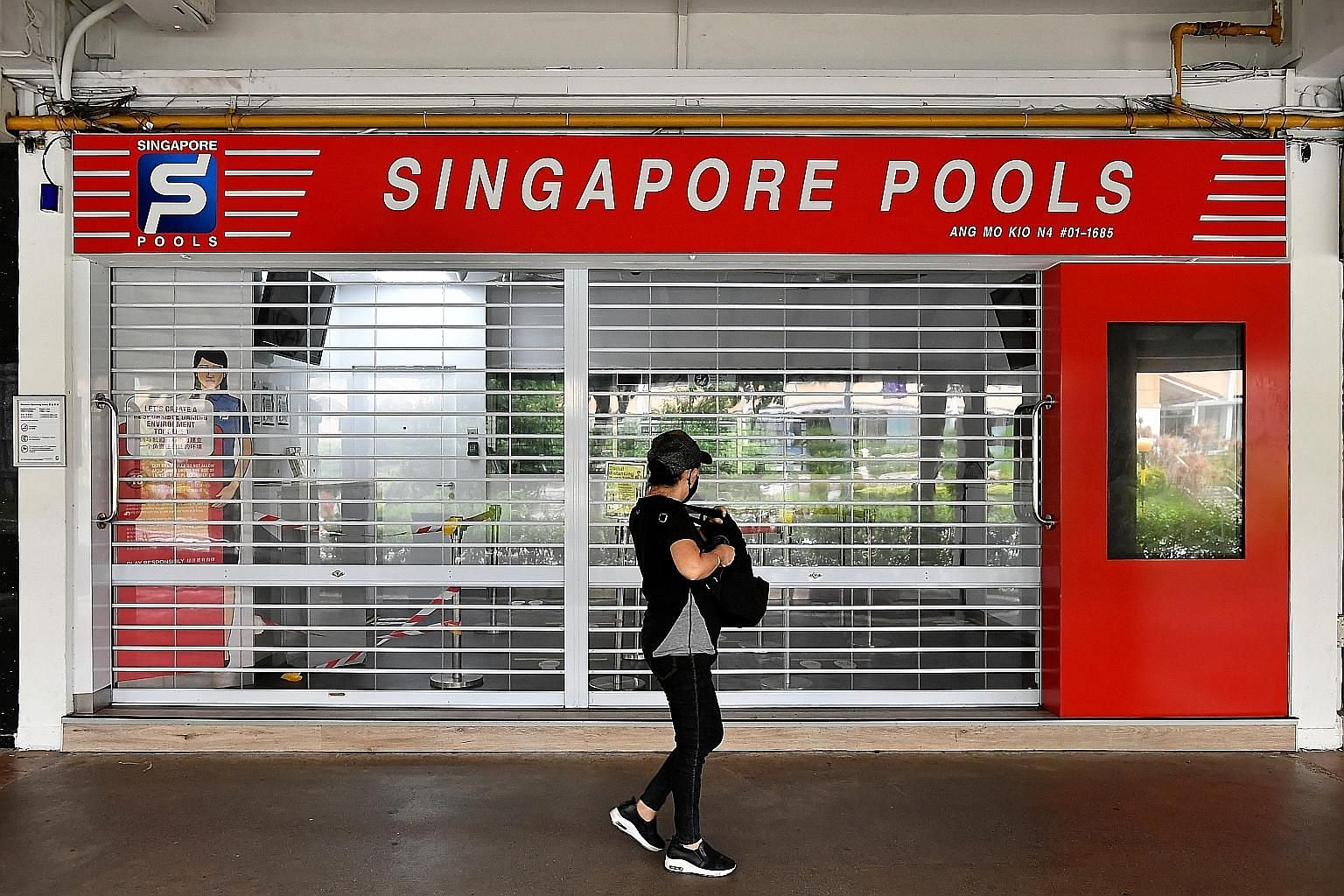 A Singapore Pools outlet in Ang Mo Kio Avenue 10 which has been closed amid circuit breaker curbs. To safeguard its customers, Singapore Pools actively monitors the Internet for phishing websites and fake apps that improperly use its brand, the local