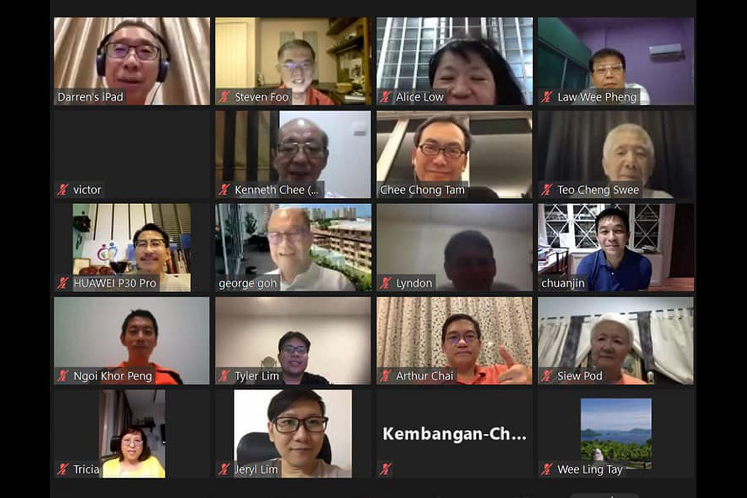 Parliament Speaker Tan Chuan-Jin (right), MP for Marine Parade GRC, holding an online meeting with community leaders in his ward. Weekly Meet-the-People Sessions have also switched to a remote format.