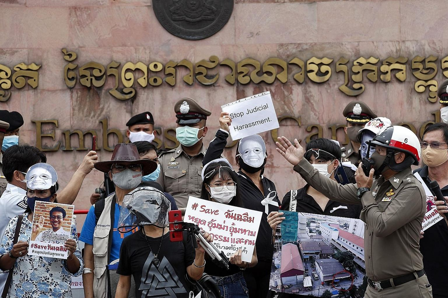 "A group of up to 30 protesters gathering in front of the Cambodian embassy in Bangkok on Monday, chanting ""Save Wanchalearm"" and accusing the Thai authorities of being involved in Thai activist Wanchalearm Satsaksit's disappearance. His alleged abduc"
