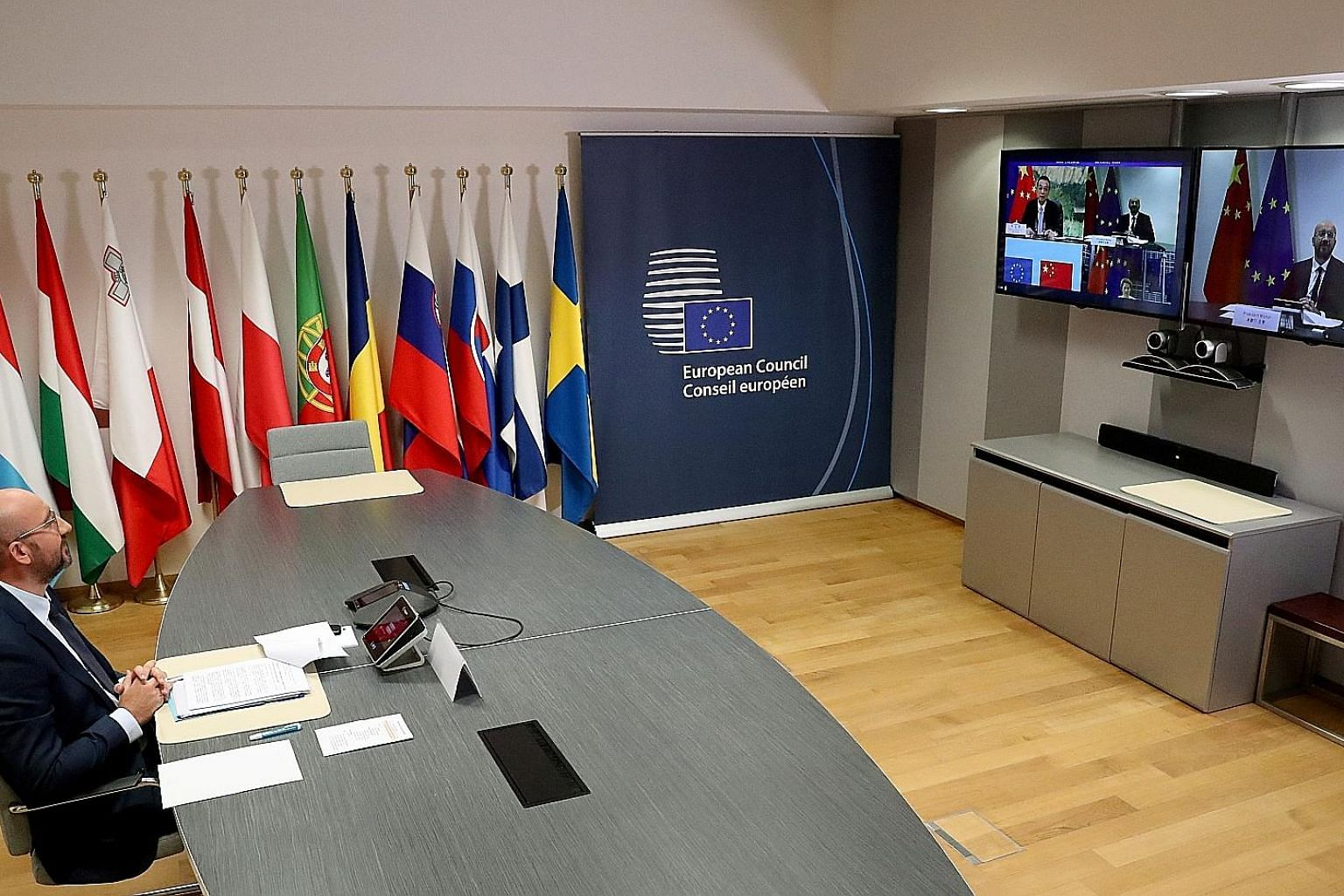 European Council president Charles Michel, in Brussels, taking part in a virtual summit with Chinese Premier Li Keqiang yesterday. It was to be followed by another video conference with Chinese President Xi Jinping.