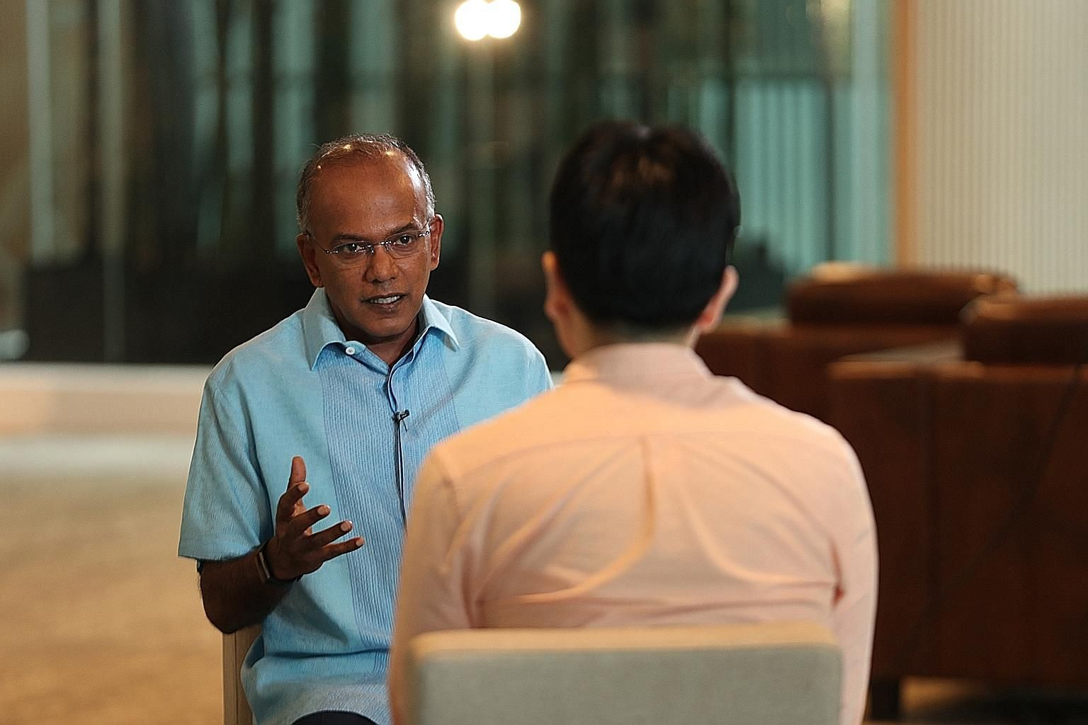 Law and Home Affairs Minister K. Shanmugam said at the interview yesterday that the task at hand is to tell people honestly what the issues facing Singapore are, and propose the best solutions. He said he has found, from speaking to residents, that t