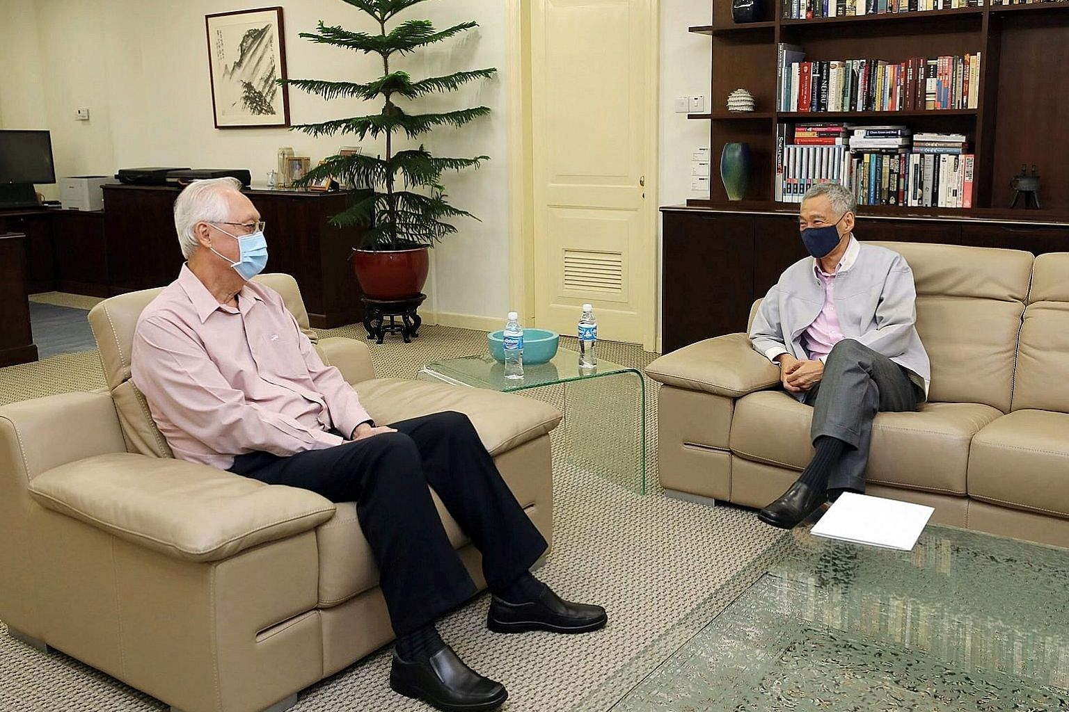 Mr Goh Chok Tong, who was prime minister for 14 years, was lauded by Prime Minister Lee Hsien Loong for his calm and steady leadership. PHOTO: MPARADER/FACEBOOK Former WP chief Low Thia Khiang, seen here giving an interview at home yesterday, spent 2