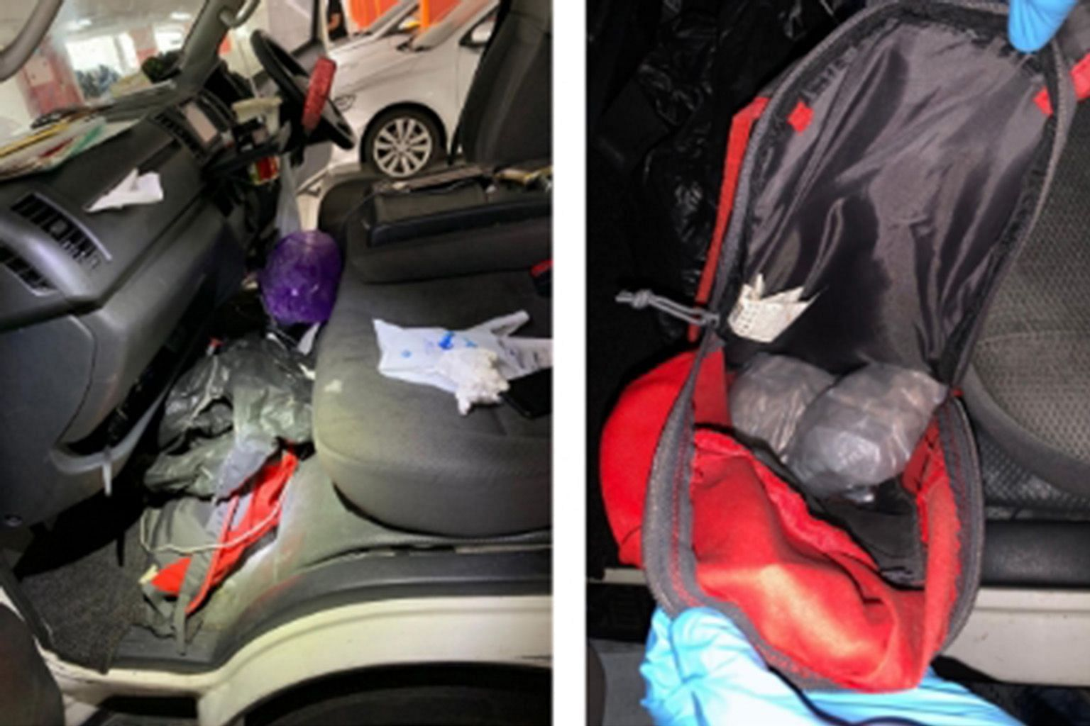(Above) Views of the inside of a van intercepted along Simei Avenue, in a Central Narcotics Bureau operation on Monday. (Right) Some of the drugs seized in the operation. The total haul is estimated to be worth at least $215,000. PHOTOS: CENTRAL NARC