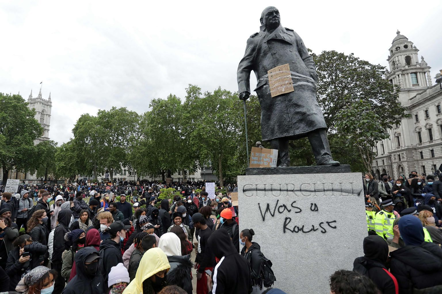 Graffiti scrawled on the statue of former British prime minister Winston Churchill in London earlier this month. PHOTO: AGENCE FRANCE-PRESSE