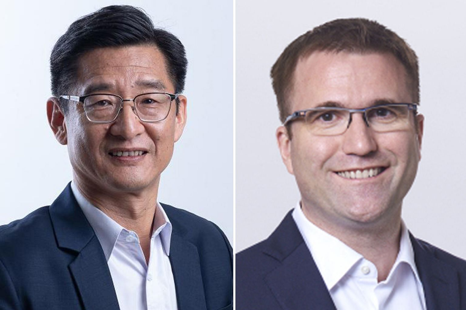 Lazada's group president Li Chun (left) will be group CEO from next Wednesday, succeeding Mr Pierre Poignant (right), who will become special assistant to Alibaba Group chairman and CEO Daniel Zhang.