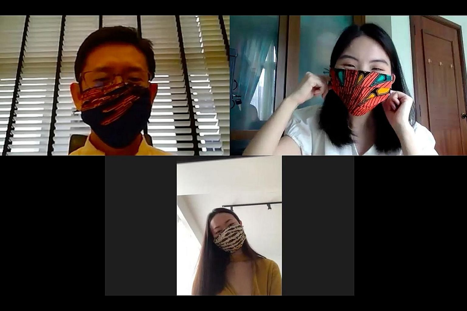 (Clockwise from top left) Wellchem Pharmaceuticals director Winthrop Wong, Sunday Times reporter Amanda Chai and dermatologist Teo Wan Lin testing the fabric masks.