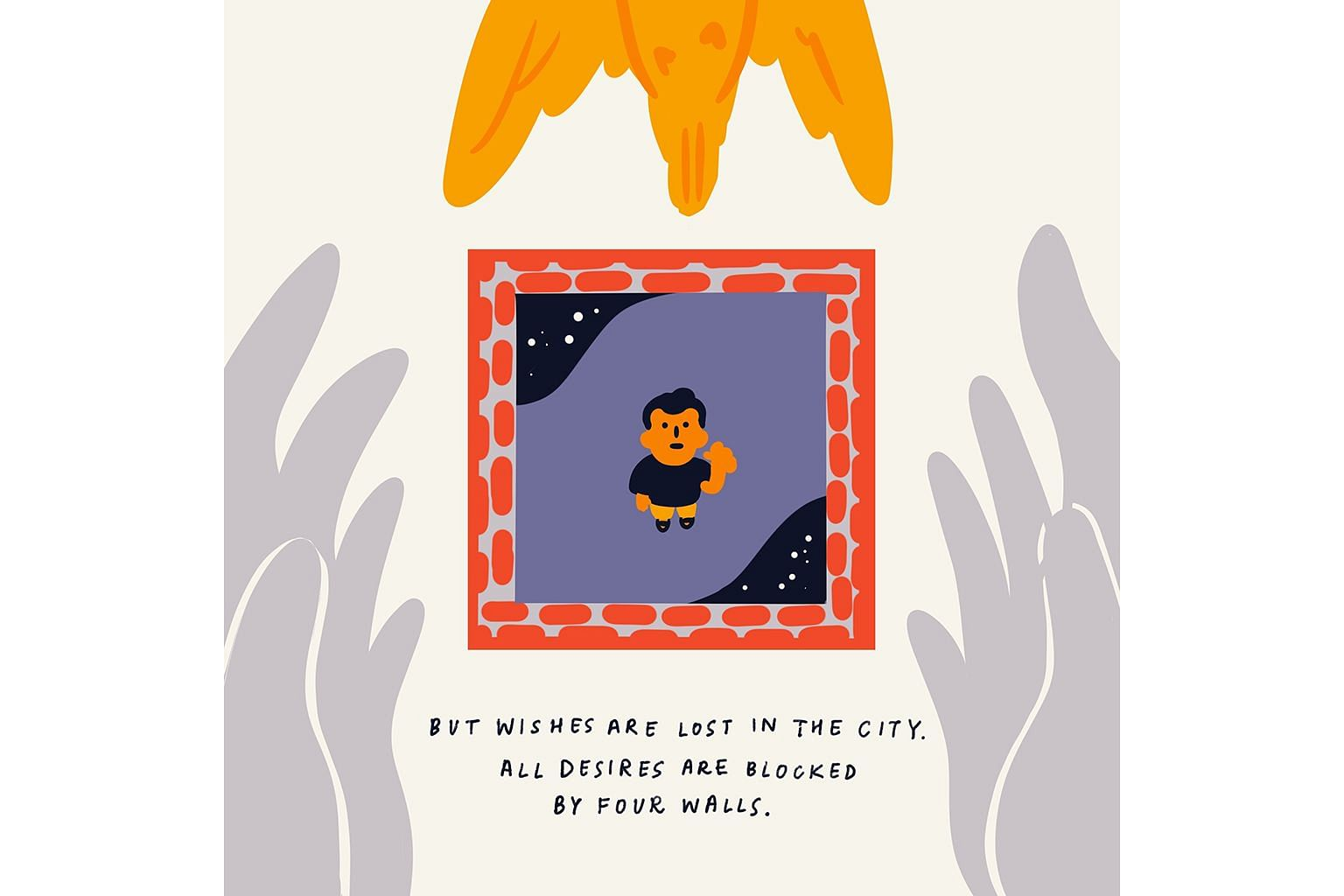 Illustrator Joy Ho, inspired by a poem by construction safety supervisor Md Sharif Uddin, came up with the idea for artists to illustrate poems written by migrant workers to help their words reach a wider audience. She illustrated his poem, The Death Of W