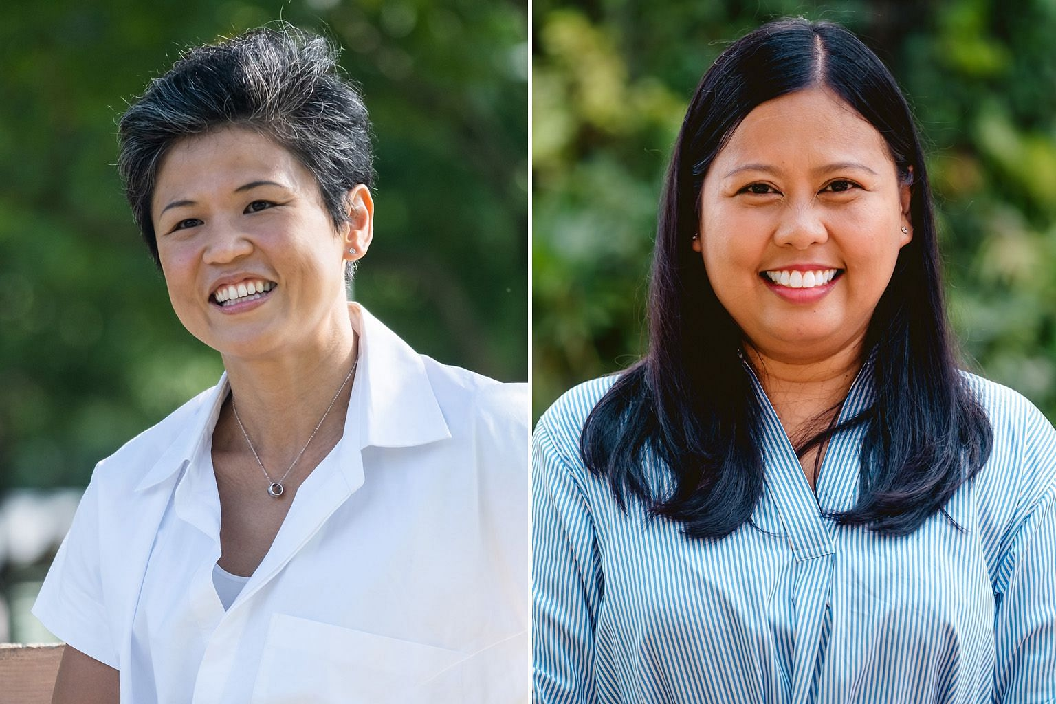 Ms Poh Li San (left) and Ms Mariam Jaafar will run as part of the PAP's team in Sembawang GRC, led by Education Minister Ong Ye Kung.