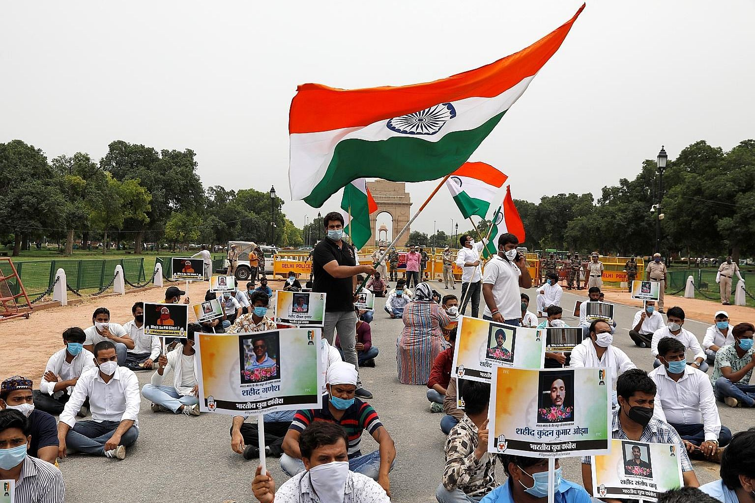 Supporters of India's main opposition Congress party in New Delhi last Friday paying tribute to Indian soldiers killed in the border clash with Chinese troops. The violent clash has seen tensions impact bilateral economic ties.