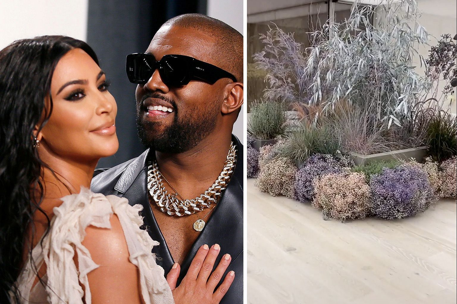 BATHROOM OF BLOOMS FOR BILLIONAIRE WIFE: American rapper Kanye West surprised his wife Kim Kardashian (both right) on Tuesday morning by decking their bathroom with fresh flowers (left), People.com reported. Kardashian, 39, posted a video on Instagr