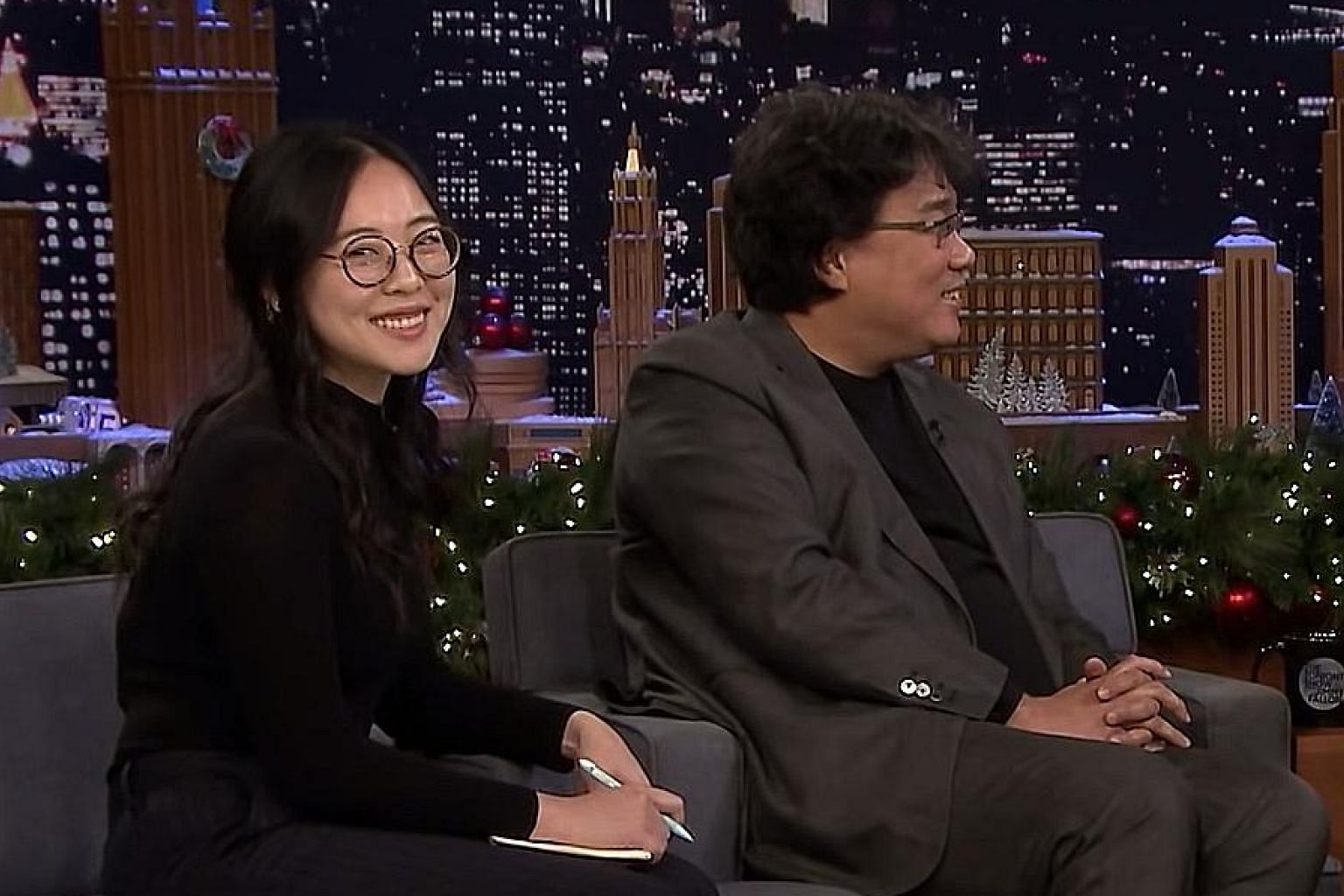 Ms Choi Sung-jae with director Bong Joon-ho on The Tonight Show Starring Jimmy Fallon.