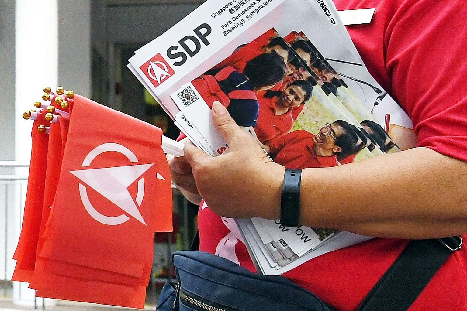 The Singapore Democratic Party's vision for the country is crystallised in its Four Yes, One No campaign, which includes suspending the GST until end-2021 and introducing a retrenchment benefit scheme for workers. ST PHOTO: DESMOND FOO