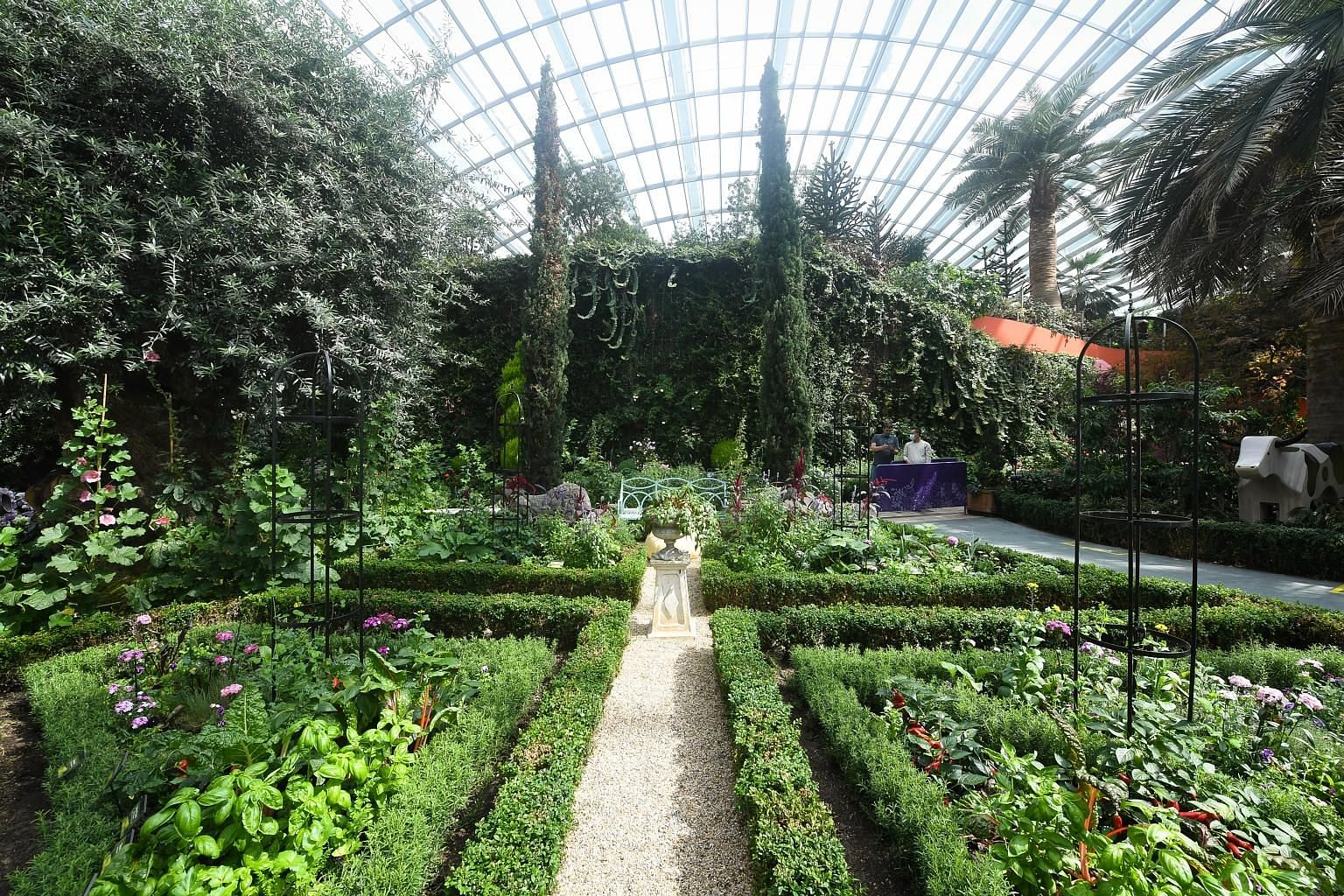 Inspired by the renowned Potager of the 16th-century Chateau Villandry in France, the Edible Garden (above) at the Flower Dome will feature vegetables and herbs. The dome will also showcase European blooms – such as foxgloves – that Gardens by the Bay has