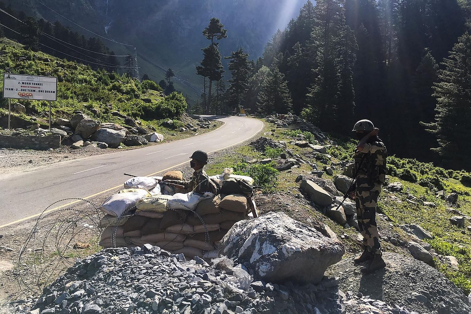 Indian Border Security Force soldiers guarding a highway leading towards Leh, bordering China, in Gagangir last month. Border stand-offs recur every few years all across the Himalayas. PHOTO: AGENCE FRANCE-PRESSE