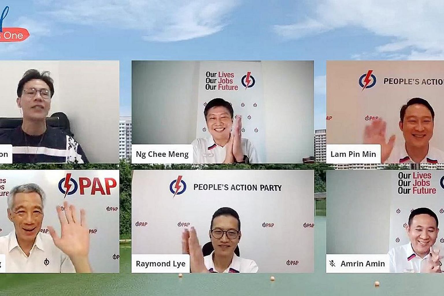Prime Minister Lee Hsien Loong joined the PAP team for Sengkang GRC - (clockwise from top centre) Mr Ng Chee Meng, Dr Lam Pin Min, Mr Amrin Amin and Mr Raymond Lye - in a webinar on the party's plans for the constituency yesterday. The session was ho