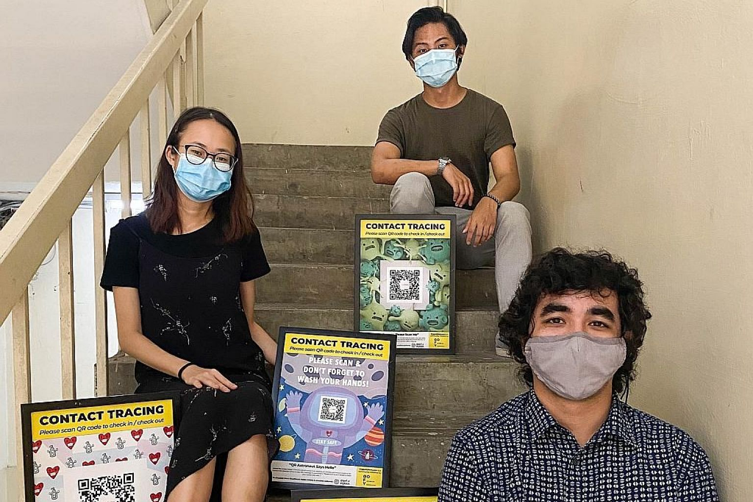 Singaporeans John Henry (front), 32, Megan Chia, 20, and Zul Eddy Zain, 24, are among artists who have designed SafeEntry posters that can be downloaded for free under Project #QRArt. Launched by home-grown creative collaborative GOFY, the project ha