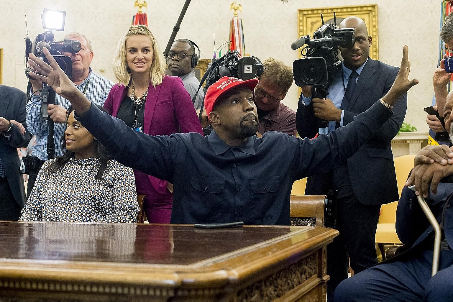 "US rapper Kanye West in the White House in Washington on Oct 11, 2018. West announced on Twitter that he was ""running for president of the United States"". It was not immediately clear if West was serious. PHOTO: EPA-EFE"