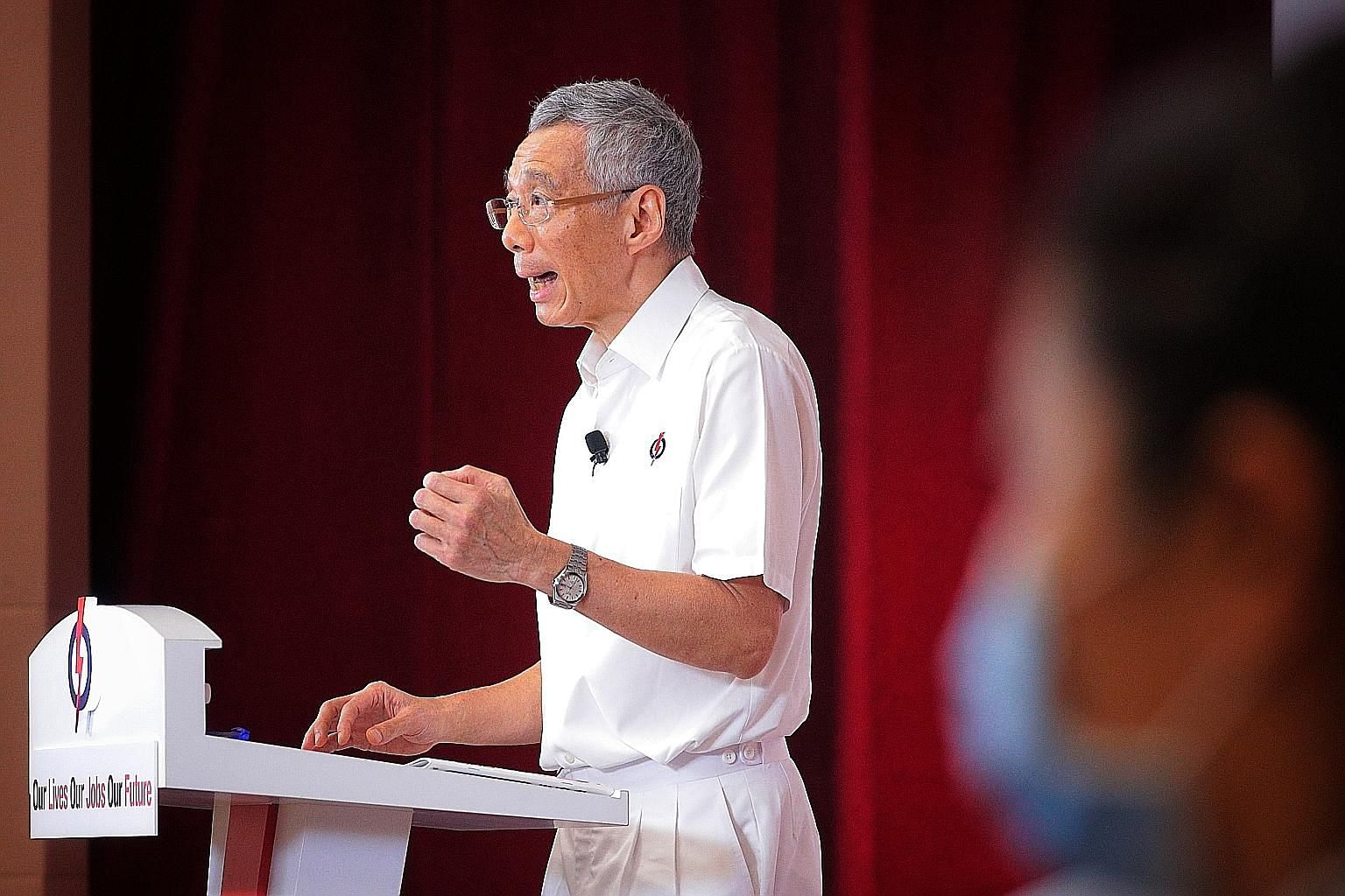 Prime Minister Lee Hsien Loong at the Fullerton election rally, which was streamed live on Facebook and YouTube yesterday. ST PHOTO: JASON QUAH