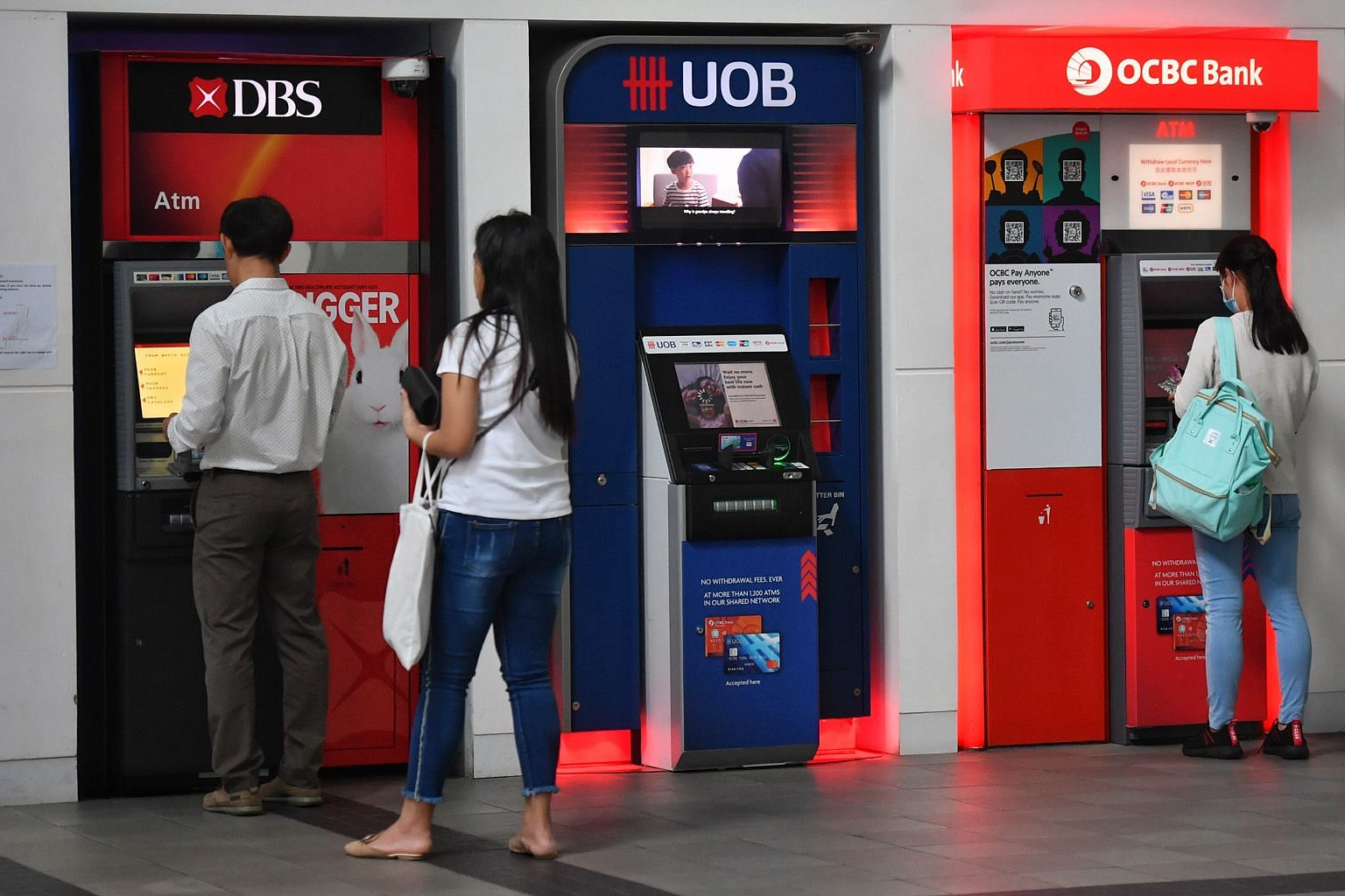 DBS, OCBC and UOB were placed on rating watch negative by Fitch Ratings in April, due in part to the impact of the coronavirus pandemic. ST FILE PHOTO