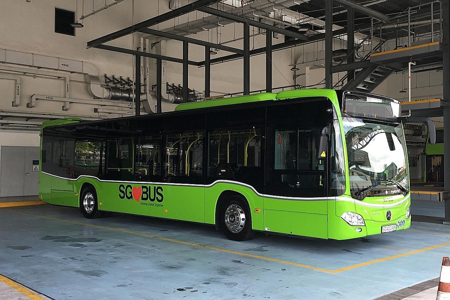 The solitary Mercedes-Benz Citaro Supercap Hybrid bus (right) has been on trial here since March. It will be tested for one year. PHOTO: MERCEDES-BENZ