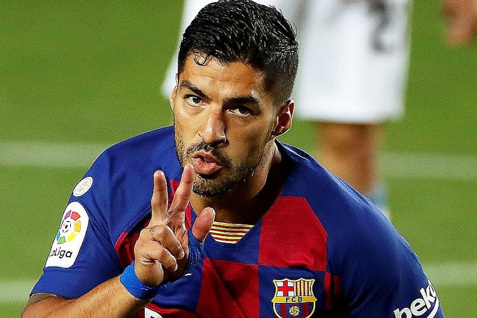 Barcelona striker Luis Suarez after scoring in the 1-0 win over Espanyol on Wednesday. It was his 195th goal for Barca in all competitions. PHOTO: EPA-EFE