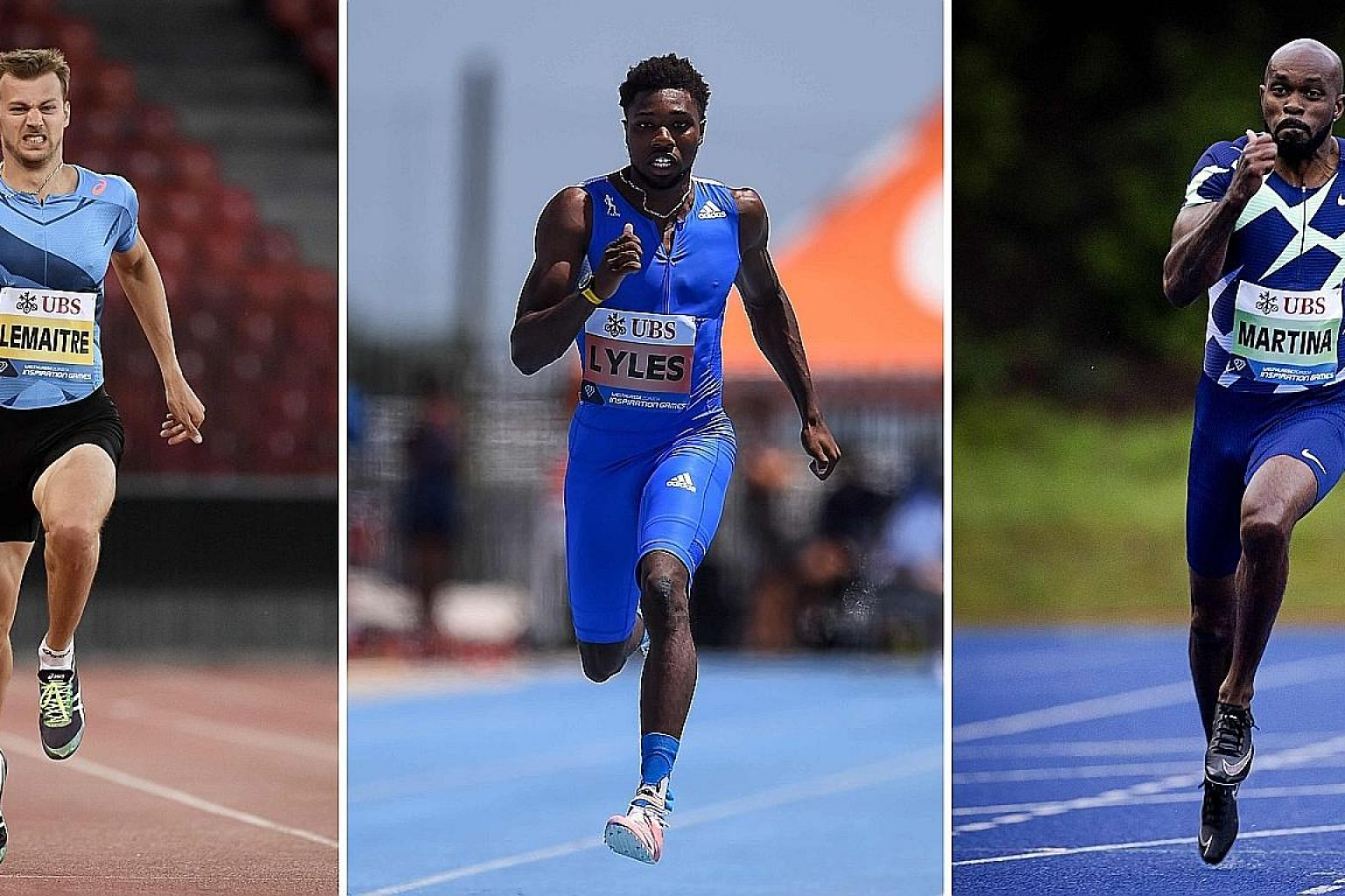 From left: France's Christophe Lemaitre at the Letzigrund Stadium in Zurich, American Noah Lyles at the IMG Academy in Bradenton, Florida, and the Netherlands' Churandy Martina at Papendal in Arnhem. The trio were part of a 200m race, won by Lemaitre