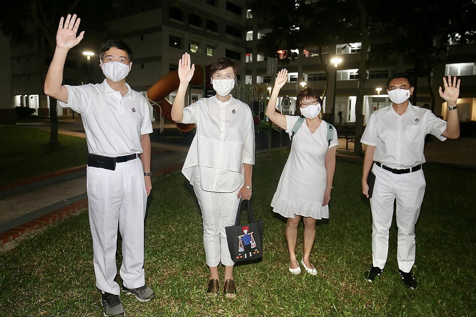 The PAP Jalan Besar GRC team, led by Manpower Minister Josephine Teo (second from left), won 65.37 per cent of the votes against a team from Peoples Voice. The others who stood with her in the group representation constituency are (from left) Mr Heng