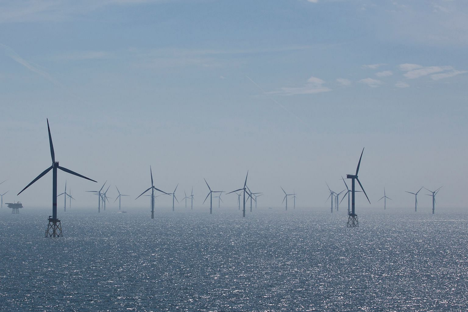The Nordsee Ost Offshore Wind Farm in the North Sea, another project by German utilities company RWE, seen in a 2015 file photo. Sembcorp Marine, together with GE Renewable Energy's Grid Solutions, will start early design works for RWE's new Sofia Offshor