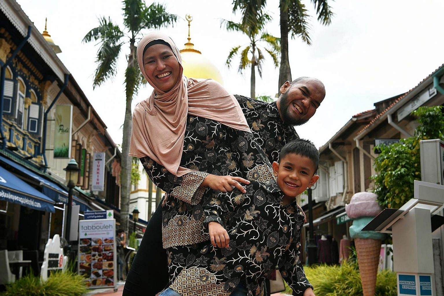 Mr Shahrizal Salleh, also known as Chef Bob, with his wife Kamisah Khamis and son Umar Shahrizal.