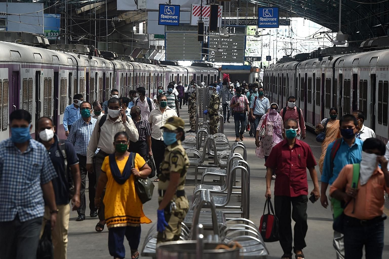 Travellers at the Churchgate station in Mumbai last month. India's plan to allow private players on the rail network will see them operate 151 trains on 109 routes around some key cities by April 2023. PHOTO: AGENCE FRANCE-PRESSE
