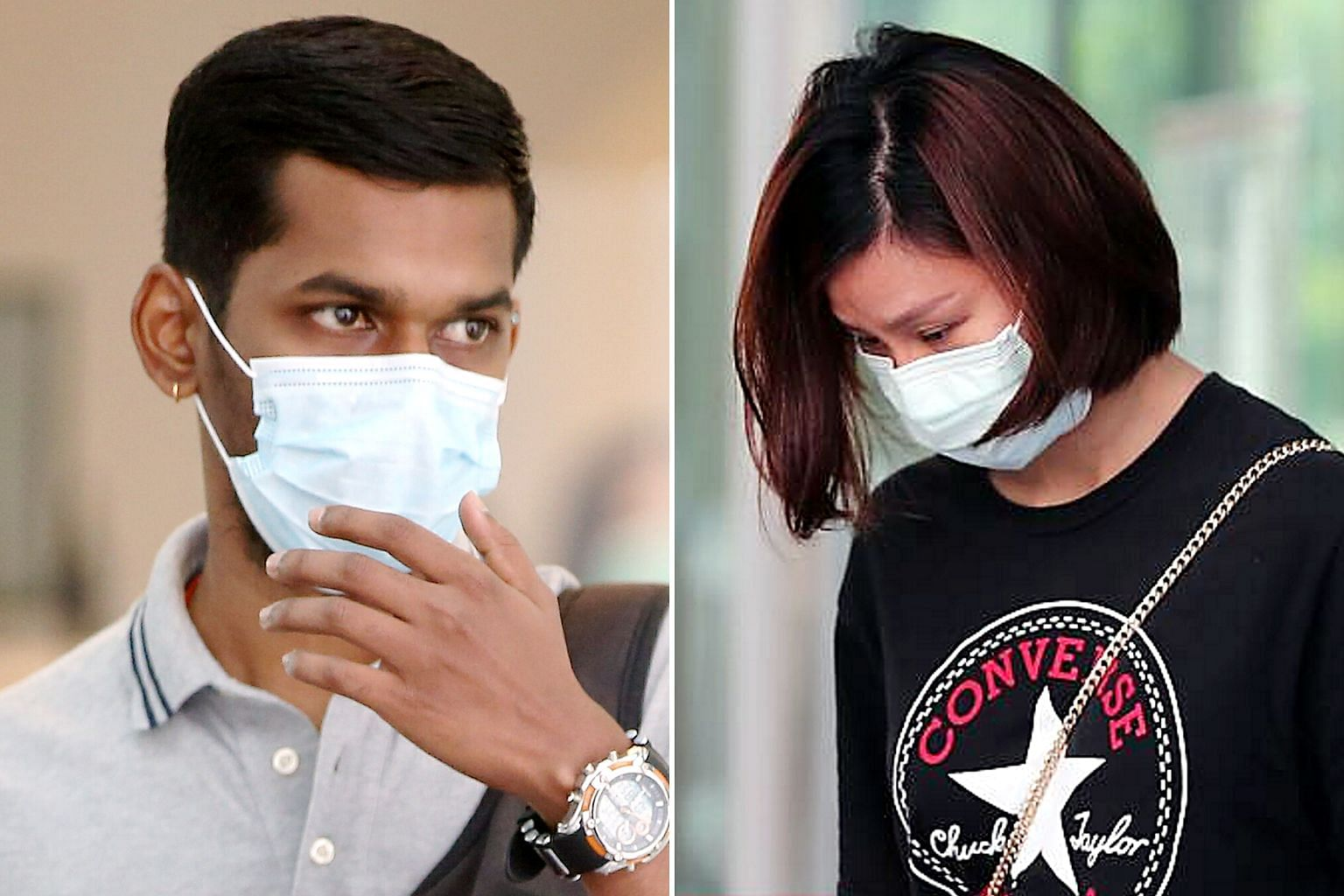 (From left) Sajandeep Singh, Navdeep Singh and Avinash Kaur allowed seven visitors to enter their place of residence for a social gathering during the circuit breaker. The 10 Indian nationals had student or work passes cancelled and have been deporte