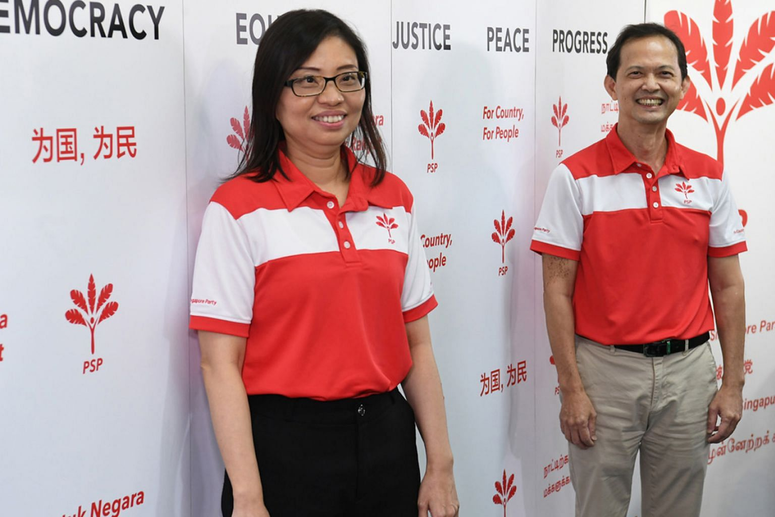 Progress Singapore Party's vice-chairman Hazel Poa and assistant secretary-general Leong Mun Wai at yesterday's press conference. Both were on the party's West Coast GRC slate, which secured 48.31 per cent of the votes against the People's Action Par
