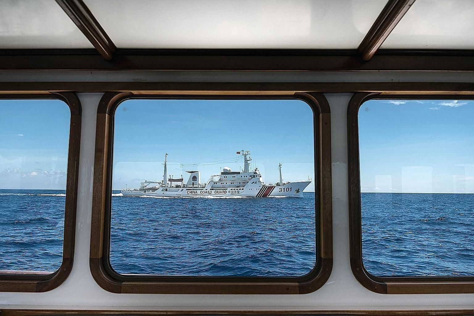 A file photo from 2016 showing a Chinese coast guard ship near Scarborough Shoal, a reef in the South China Sea that is claimed by both China and the Philippines.