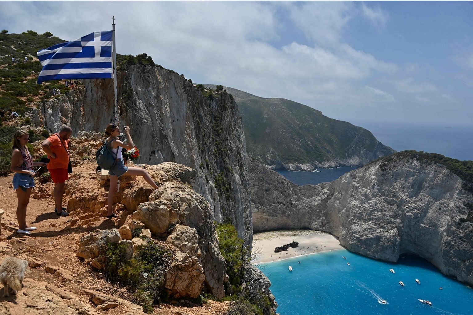 Amid the Covid-19 pandemic, tourism is slowly picking up again. There are now four boat departures daily to the famous Navagio (Shipwreck) beach on the Ionian island of Zakynthos, Greece, compared with the usual 20 for the season.