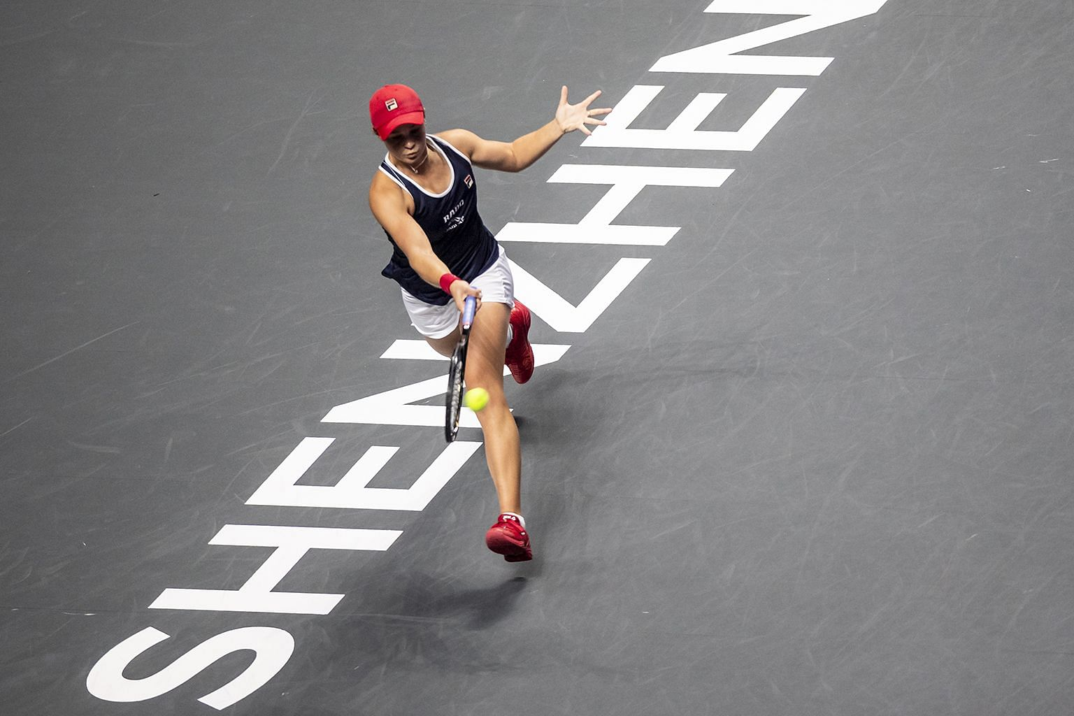 Australia's Ashleigh Barty in action against Ukraine's Elina Svitolina at the WTA Finals' title decider in Shenzhen last year.