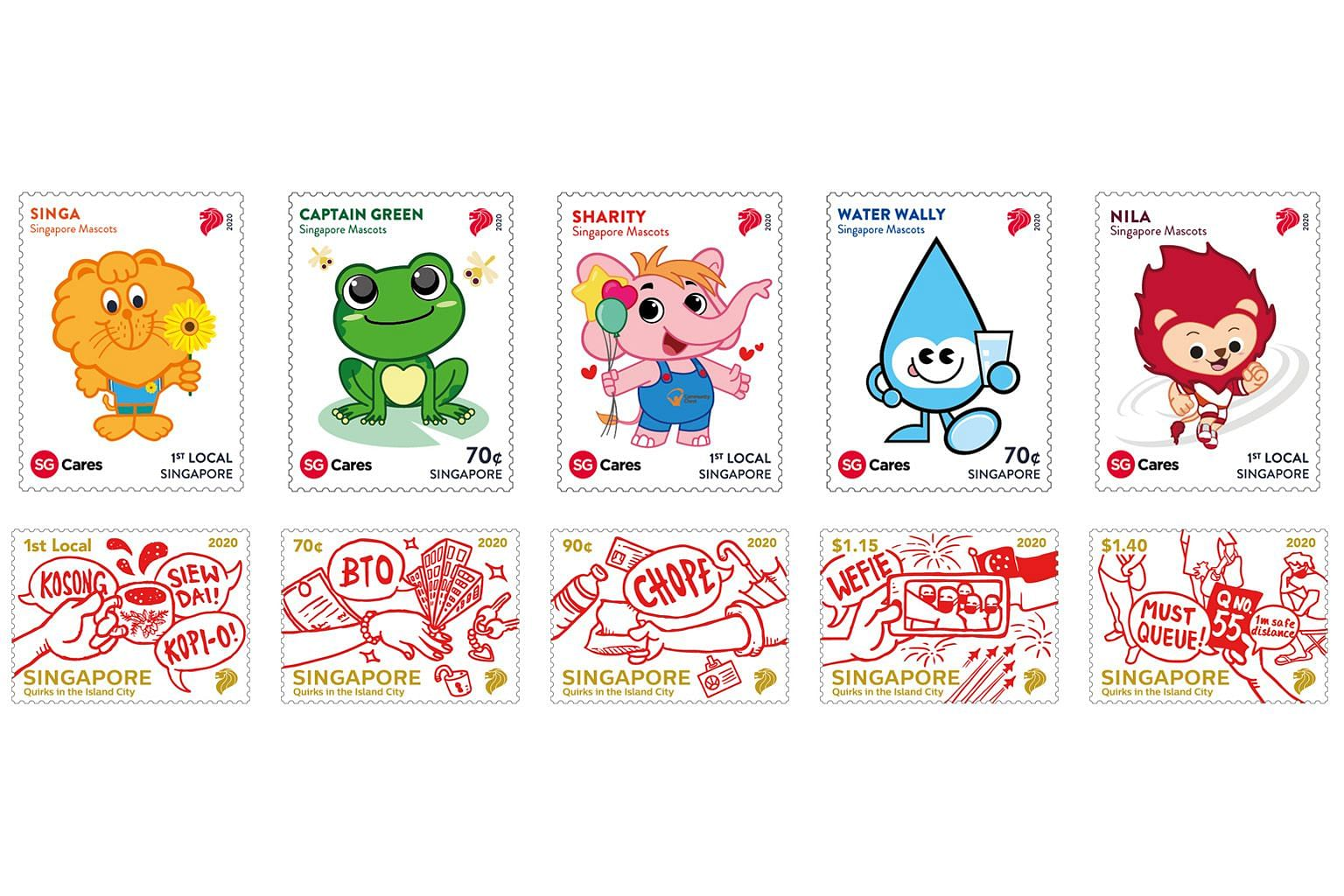 "SingPost's new stamp sets feature local mascots (top), including Nila the lion and Water Wally, as well as sketches of local quirks (above) such as ""choping"" and joining long queues."