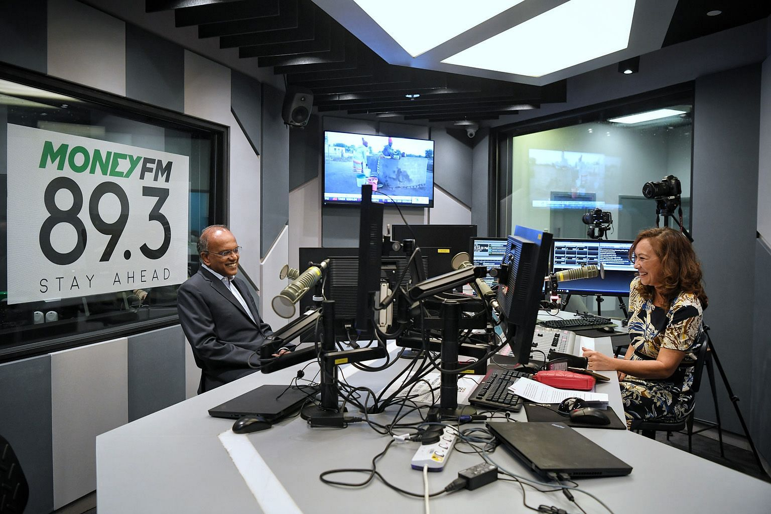 Law and Home Affairs Minister K. Shanmugam with Money FM 89.3 DJ Claressa Monteiro during the interview that was broadcast yesterday. In the conversation billed as a look at hard truths from GE2020, Mr Shanmugam said the PAP is keenly aware of voters