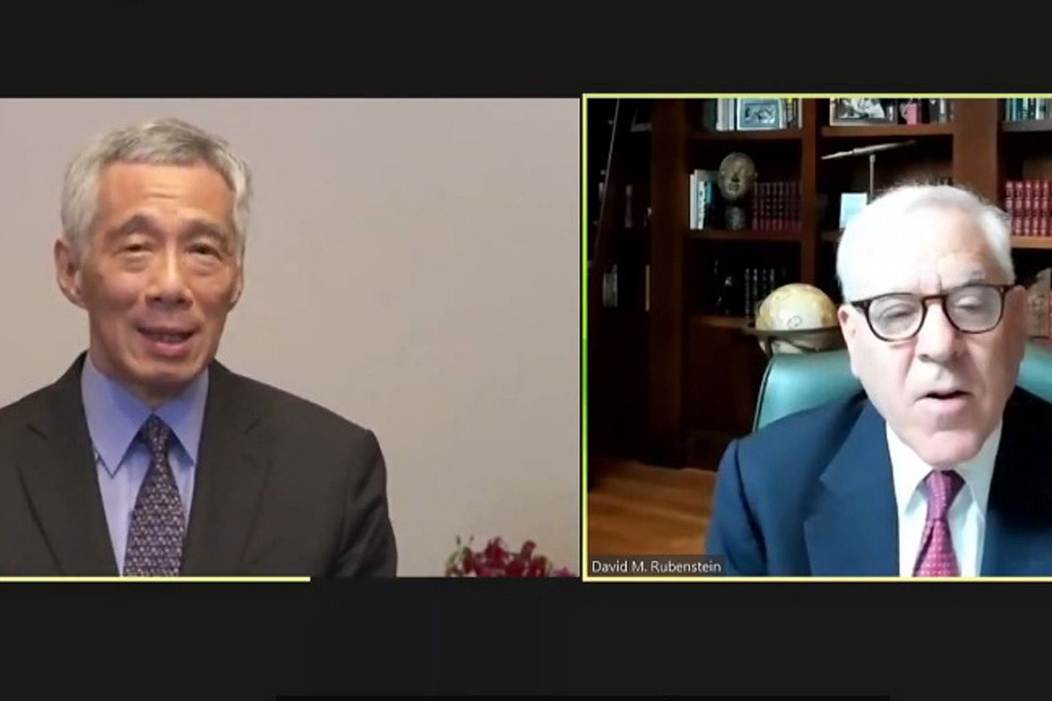 Prime Minister Lee Hsien Loong speaking to American businessman David Rubenstein during the interview hosted by the Atlantic Council yesterday. Worries about the direction of US-China ties featured heavily in the interview on Asia's response to tensi